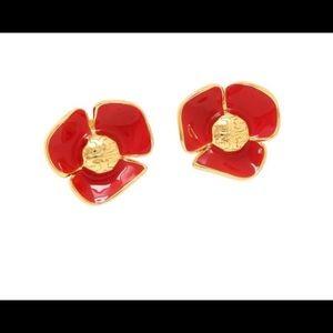 Tory Burch Red Fleur Flower Logo Earrings $95 New!